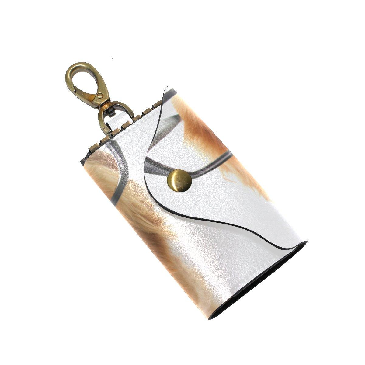 KEAKIA Funny Dachshund Leather Key Case Wallets Tri-fold Key Holder Keychains with 6 Hooks 2 Slot Snap Closure for Men Women