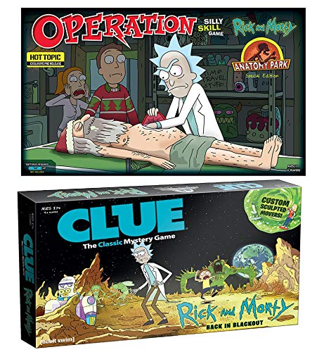 Funatomy and Recovering Intergalactic Portal Guns: Special Edition Anatomy Park Operation & Back in Blackout Clue 2 Pack Item Rick and Morty Character Games Bundle