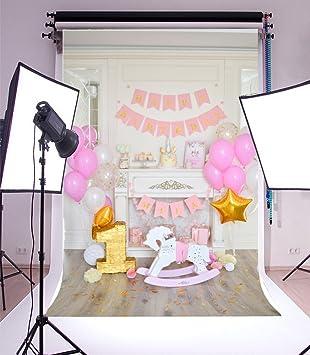 Yeele 5x7ft Girl Baby First Birthday Party Photography Backdrop Unicorn  Cake Trojan Balloon Banners Gold Stars