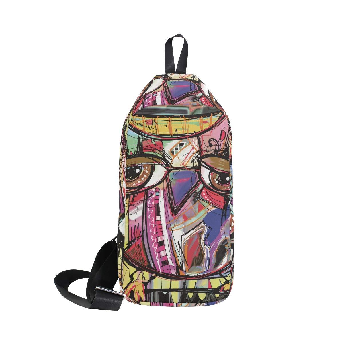 Unisex Messenger Bag Graffiti Owl Shoulder Chest Cross Body Backpack Bag