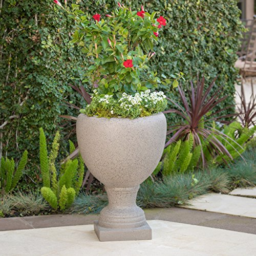 - Shiny Outdoor Taupe Stone Finished Cast Stone Urn