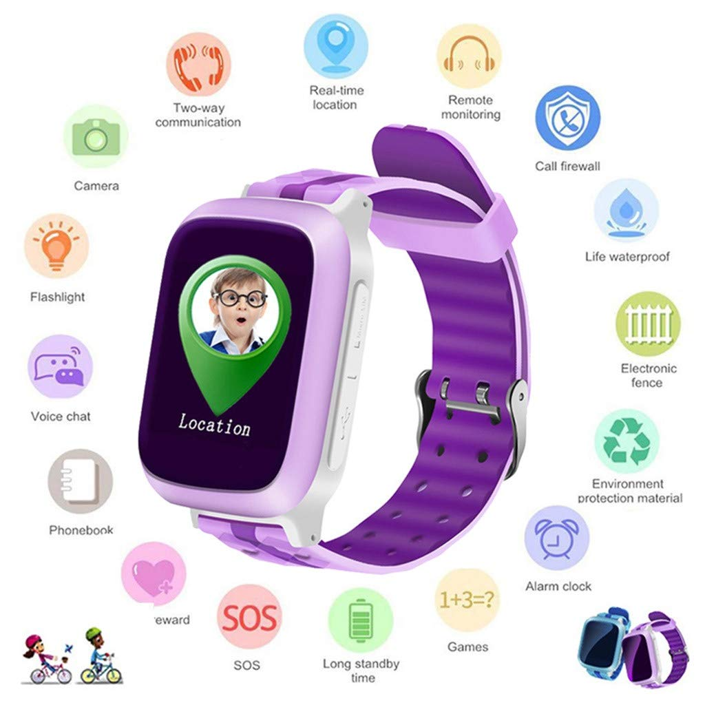 Aobiny Smart Watch for Kids,DS18 Kids Baby GPS WiFi Locator Tracker Position Smart Watch Anti-Lost Monitor (Pink)