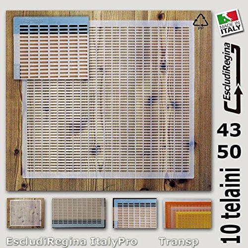 Stock 10 pezzi Made in Italy Agraria Ughetto Apicoltura ESCLUDI REGINA in Plastica ItalyPro 43x50 Transparent