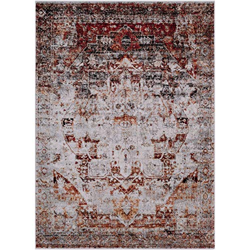 (Tiwari Home 5.25' x 7.25' Distressed White and Currant Red Rectangular Area Throw Rug )