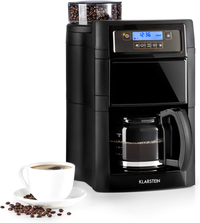 Klarstein Aromatica II - Máquina de café con molinillo cónico, 5 niveles, Jarra de cristal 1,25 L, Temporizador 24h, Filtro de carbón activo, Potencia 1000 W, Antigoteo, Display LED, Negro