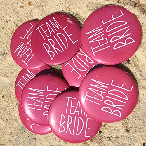 Bachelorette Button (Team Bride Buttons in Hot Pink, Bachelorette Party Buttons, Pins, Bachelorette Party Favors, Cute Bachelorette Party Decorations, Pink or Fuschia, Team Bride, Set of 10)