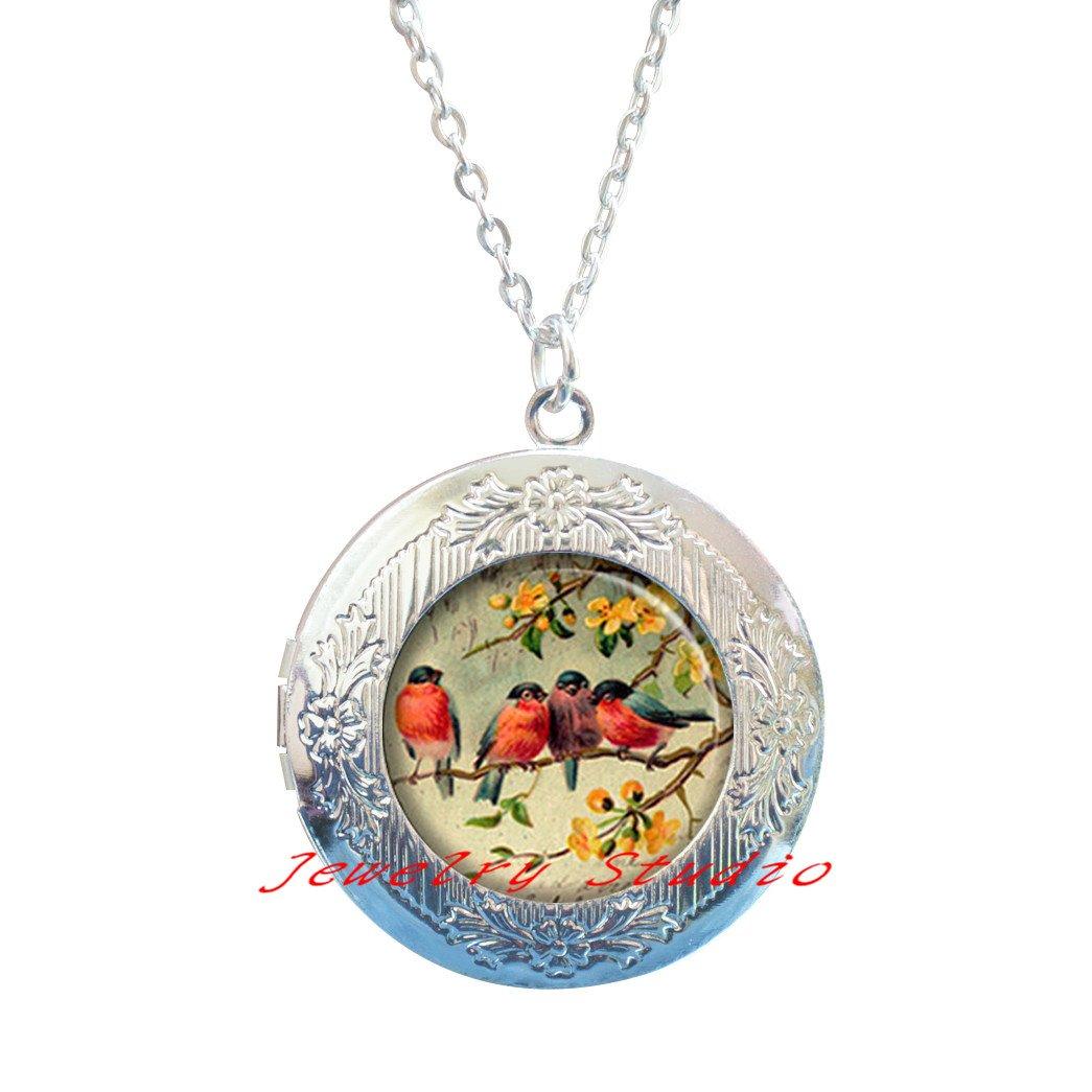 bird jewelry friendship jewelry robins Locket Pendant-HZ00397 Robin Redbreasts Locket Necklace friendship Locket Necklace charm Feathered Friends Locket Necklace