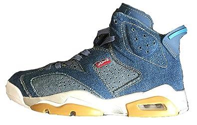 great fit really cheap shopping Levi's x Air Jordan 6 Denim Custom Blue Chaussures de Sport ...