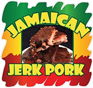 Jamaican Jerk Pork Concession Decal Sign Restaurant Food Truck Vinyl Sticker 10 inches
