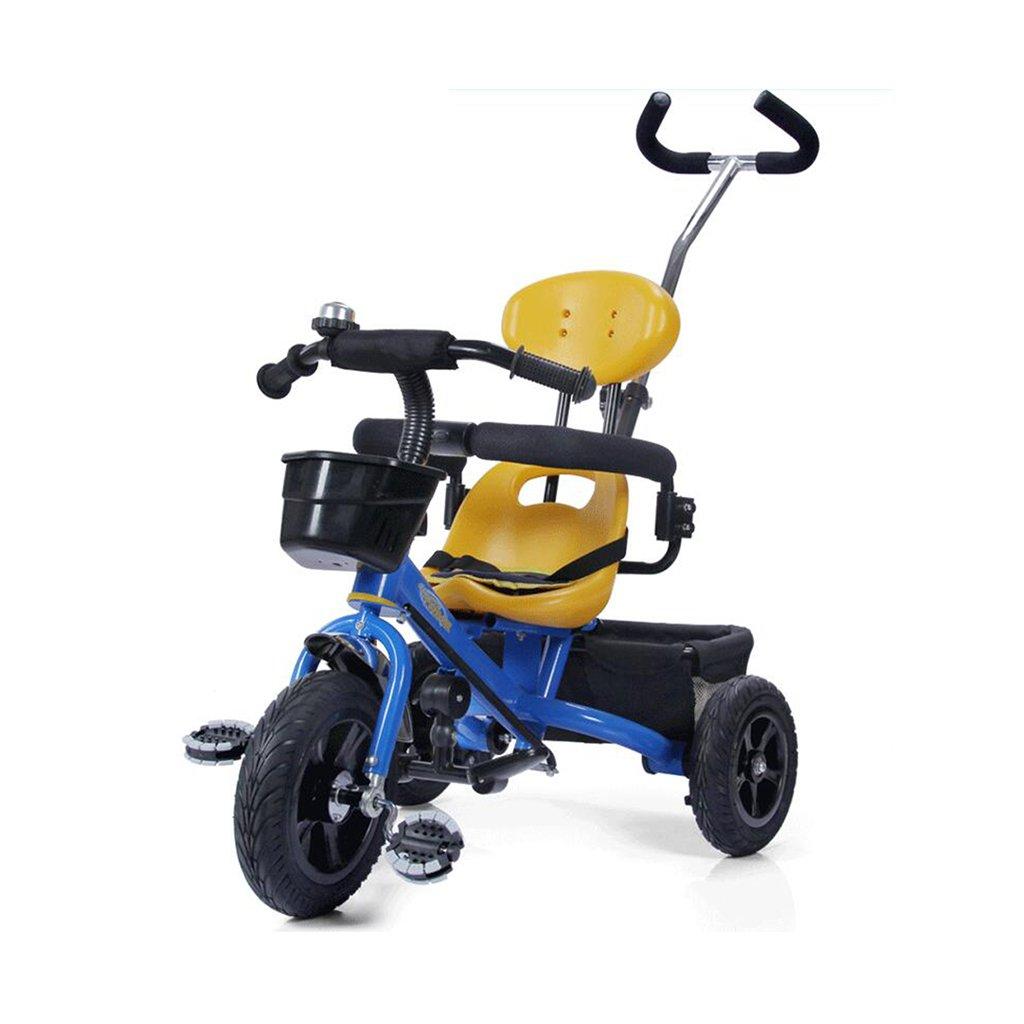 HAIZHEN マウンテンバイク 子供の三輪車非インフレータブルゴムのチタン空のホイール調節可能なプッシュロッド自転車1-5歳のトロリー自転車 新生児 B07DL4HYTZ 青 青