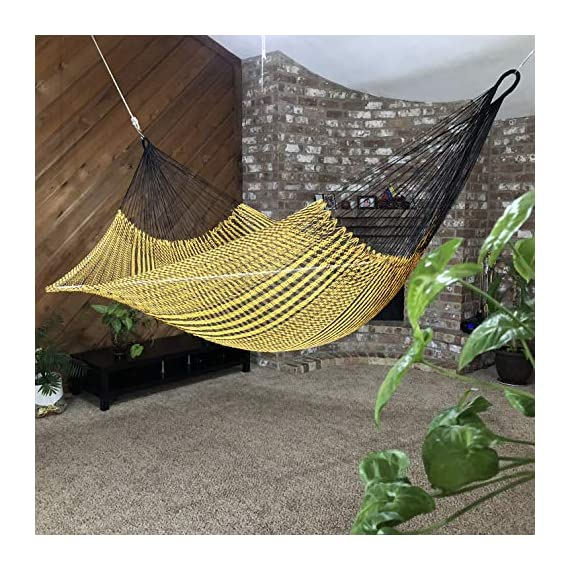 Ingalex Hammock Woven Silk Thread Handmade in Venezuela Authentic Craftsmen-Washable, Special The Outside, Unique Pieces - hammock handmade in Venezuela color: Yellow, Length: 11.10 ft Aprox. X Width:7 ft. Weight Capacity: 300 lbs. Hammock is Weather Resistant and washable in washing machine - patio-furniture, patio, hammocks - 61gwBEhpfeL. SS570  -