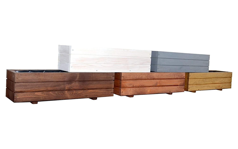 FKL Pflanzkasten aus Holz TOP Pflanzkübel Garten Terrasse fertig montiert D6 Weiss (Länge 60cm)