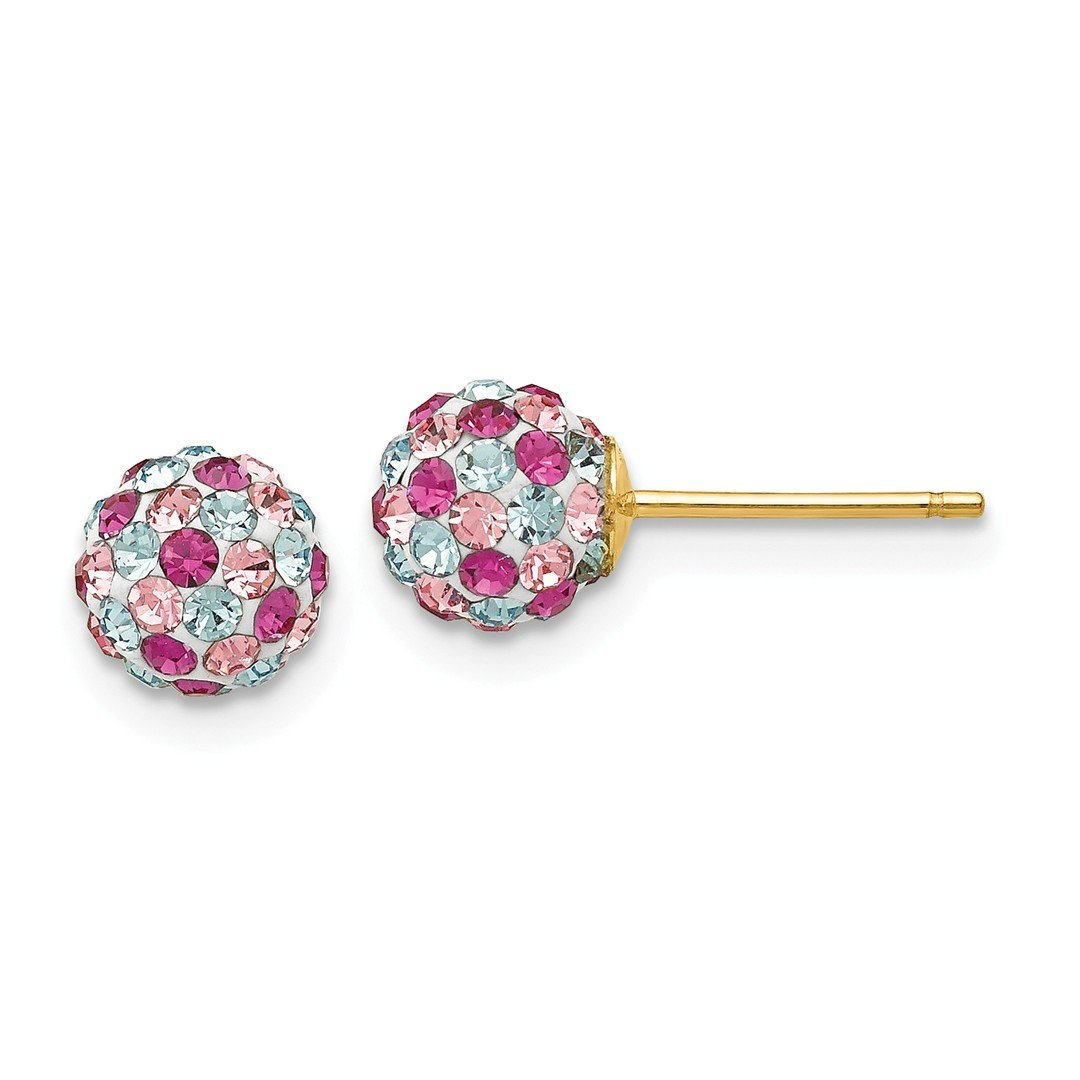 ICE CARATS 14kt Yellow Gold Multi Colored Crystals 6mm Post Stud Ball Button Earrings Fine Jewelry Ideal Gifts For Women Gift Set From Heart