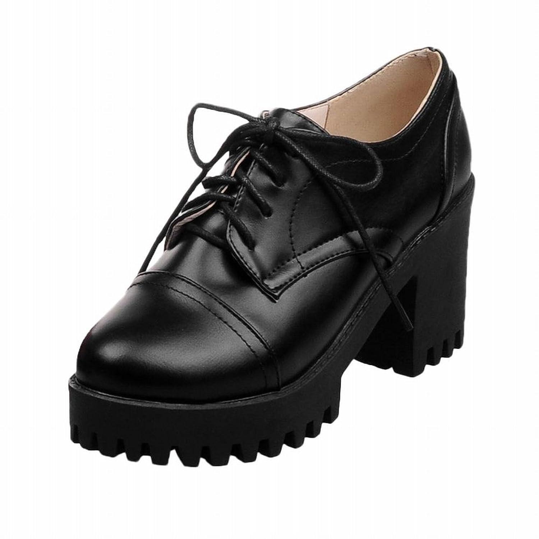 cc1411fda62f0 Carolbar women's lace up fashion retro platform chunky high heel ...