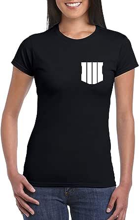 Black Female Gildan Short Sleeve T-Shirt - Black ops 4 – Chest and back design
