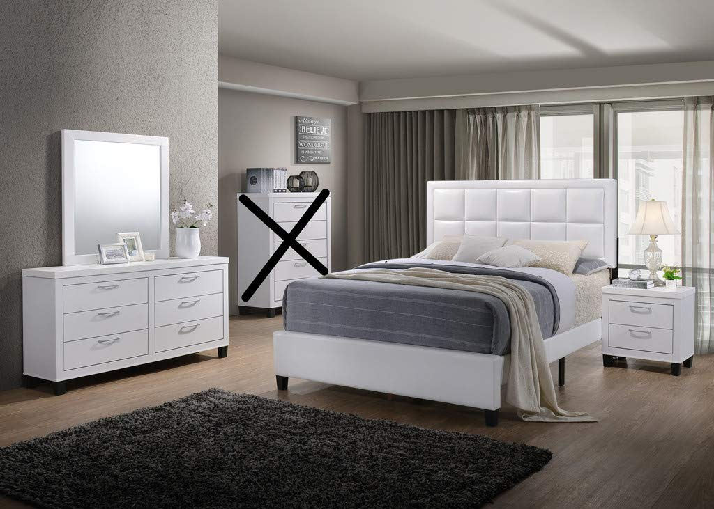 GTU Furniture Contemporary Styling White 4Pc Full Bedroom Set(F/D/M/N)