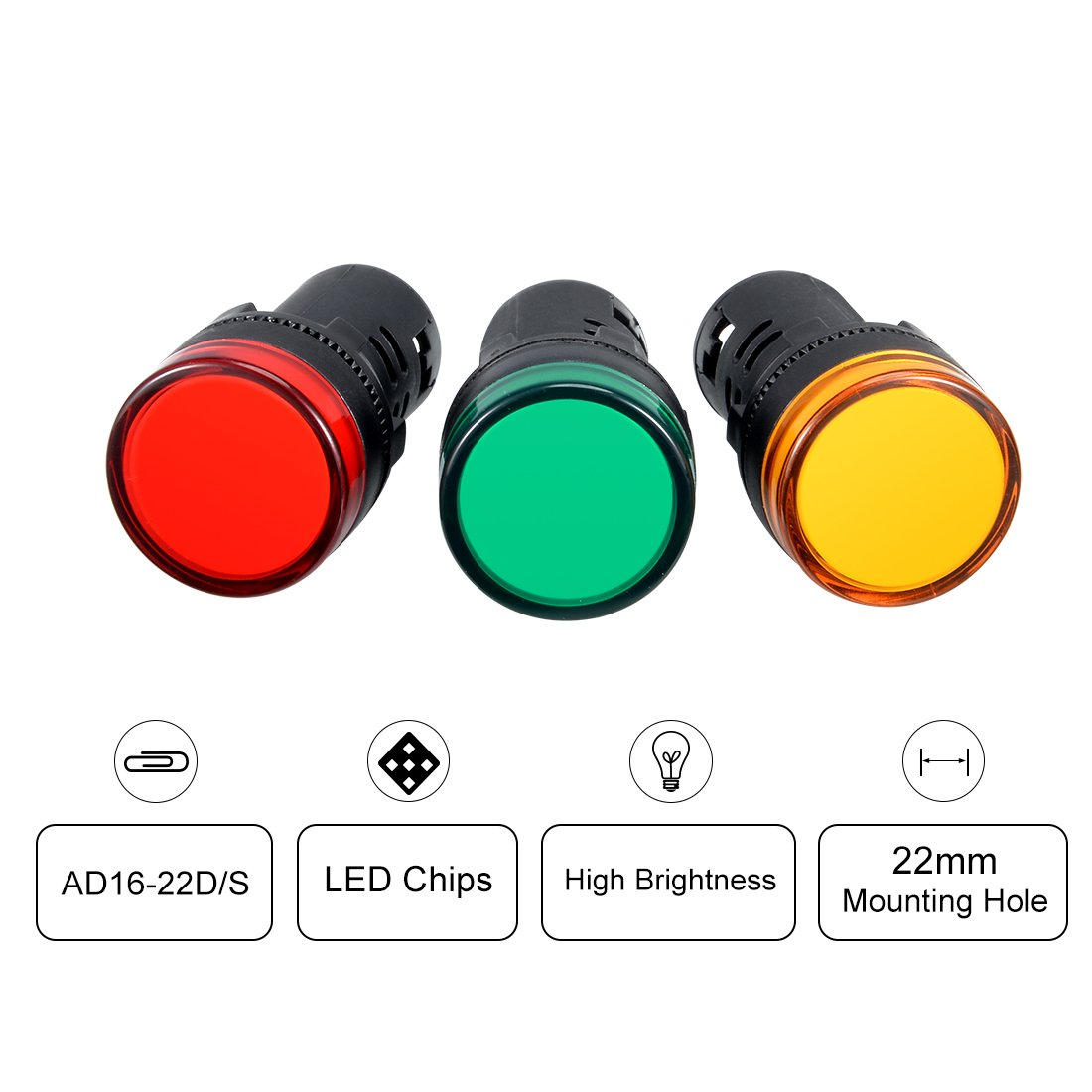 Red+Green+Yellow LED uxcell 4Pcs AC//DC 12V Indicator Lights Flush Panel Mount 7//8 22mm