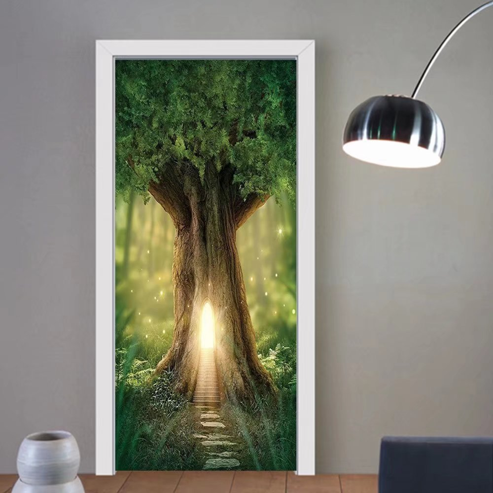 Gzhihine custom made 3d door stickers Mystic Fairy Tree of Life Enchanted Forest Mystical Lights Digital Printed Decor Green Yellow Brown For Room Decor 30x79