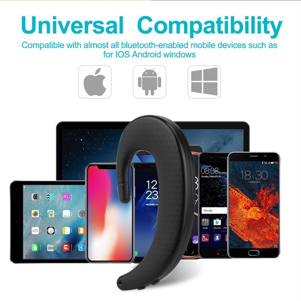 Hands Free Earphones for iPhone Samsung Teepao Minimalist Wireless Ear Hook Business Headset Non in Ear Headphone for Office Running Driving Upgraded Bluetooth Earpiece Noise Cancelling Earbuds
