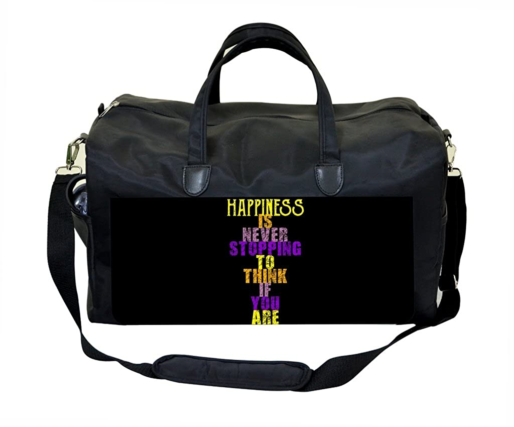 Happiness Quote in Color PU Leather and Suede Weekender Bag