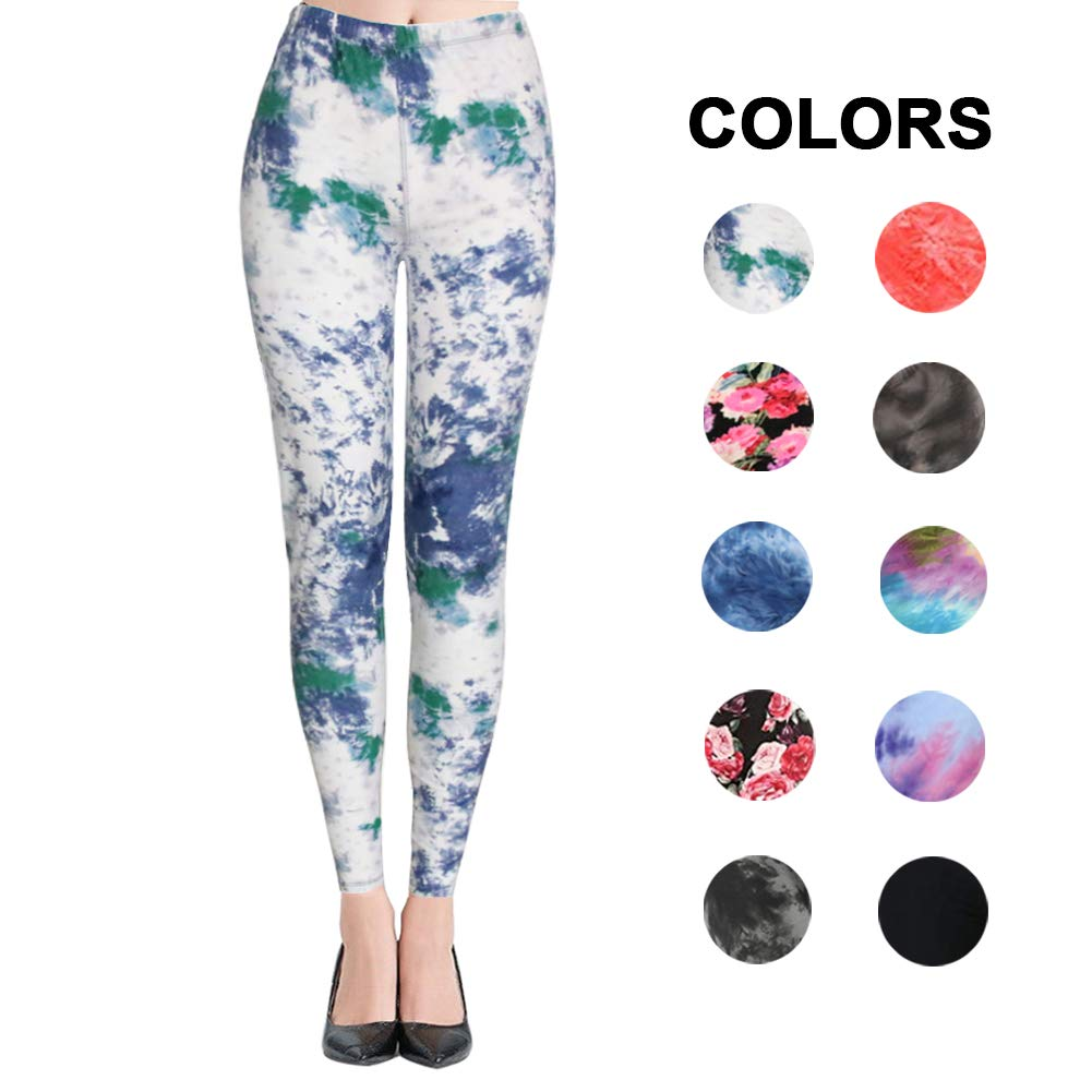 High Waisted Leggings for Women - Ultra Soft Stretchy Workout Pants – Reg/Plus Size (Ink Pattern, Plus Size (12-24))