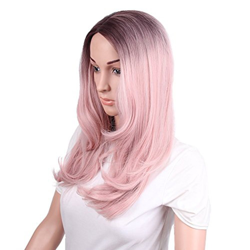 netgo Women's Ombre Pink Wigs Long Wavy Heat Resistant Synthetic Wigs for Costume Party Cosplay