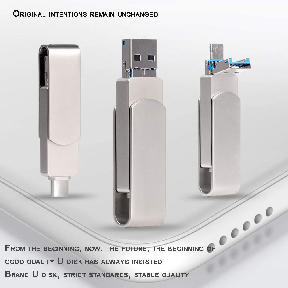 ZXGHS Android +Type-C+USB Three-in-One Memory Stick Type-C Phones and Tablets,32GB USB 3.0 Flash Drive Support for Android 360 Rotation