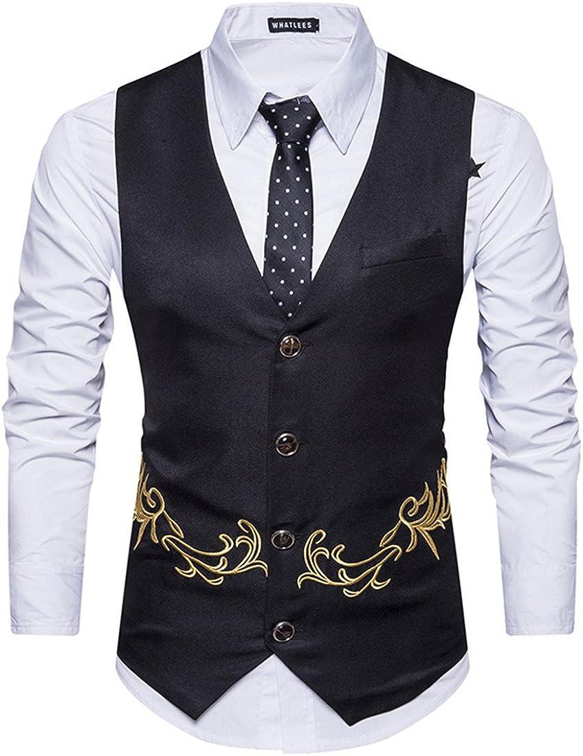 GRMO-Men Classic Embroidery V-Neck 4 Button Waistcoat Dress Suit Vest Black US XS
