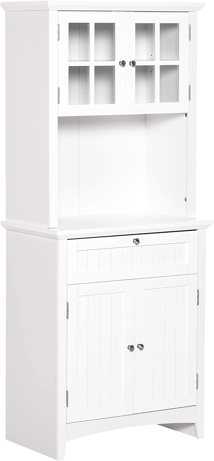 HOMCOM Kitchen Buffet Hutch Wooden Storage Cupboard with Framed Glass Door, Drawer and Microwave Space, White