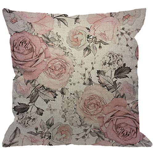 Rose Floral Throw - HGOD DESIGNS Pink Flowers Throw Pillow Cover,Watercolor Leaves Floral Rose in Pastel Color Decorative Pillow Cases Cotton Linen Square Cushion Covers for Home Sofa Couch 18x18 inch