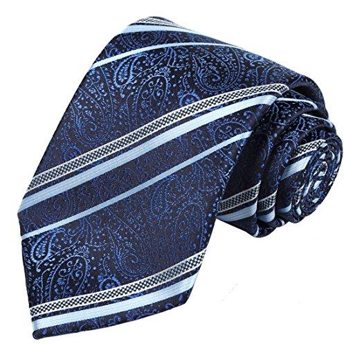 KissTies Blue Tie Navy Paisley (Mens Paisley)