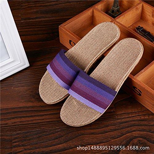 Jia Home Cotone Estivi Lino In Donne Uomini E Sandali Pantofole orange Piattaforma Pavimento Hong Di Interne Antiscivolo Legno Coppia rxfprnwq