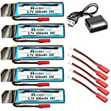 HOBBYTIGER 5PCS 3.7V 600mAh Batteries for UDI U818A U818A-1 U818A HD U818A HD+ Upgrade + 4-in-1 Charger
