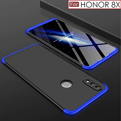 best authentic c20df 4afe0 WOW Imagine 3 in 1 Double Dip Case Anti Slip Super Slim Hybrid PC All Angle  Protection Matte Hard Back Cover for Huawei Honor 8X (Black with Blue)