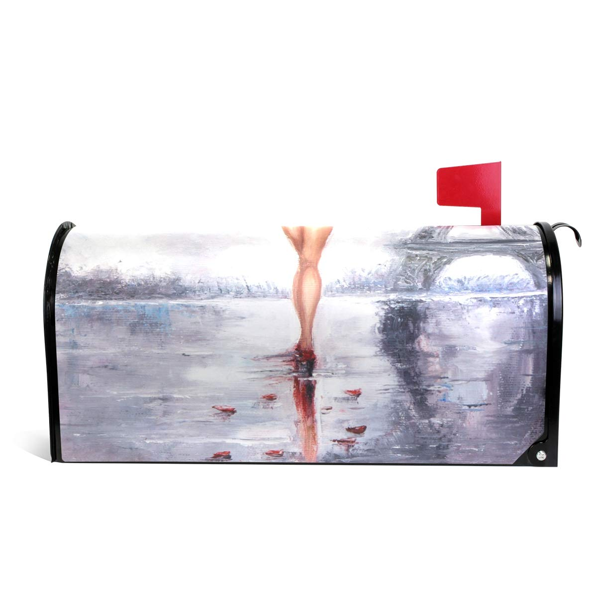 LORVIES Oil Painting Woman Paris Magnetic Mailbox Cover Oversized 25.5 x 18 Inch by LORVIES