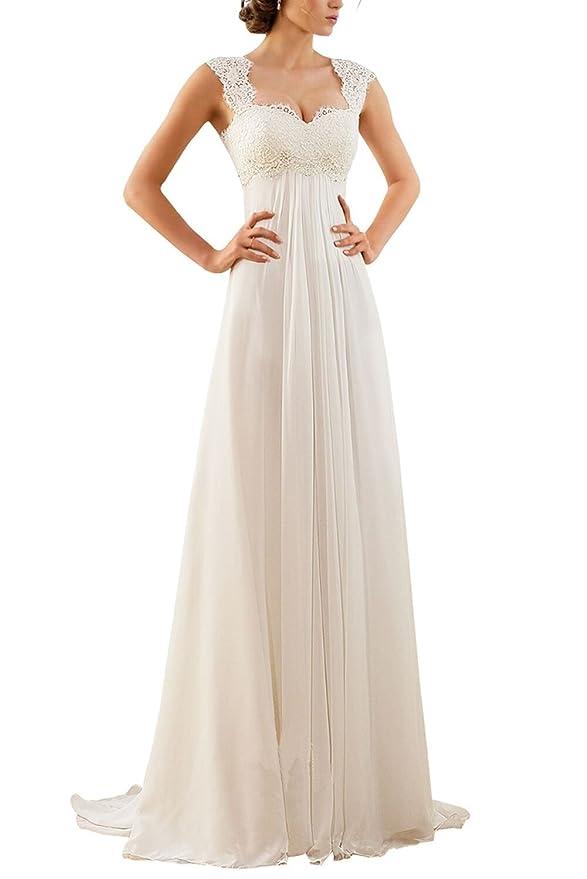 Vestido de novia de encaje falda de seda de gasa sin mangas cuello redondo para fiesta de baile: Amazon.es: Ropa y accesorios