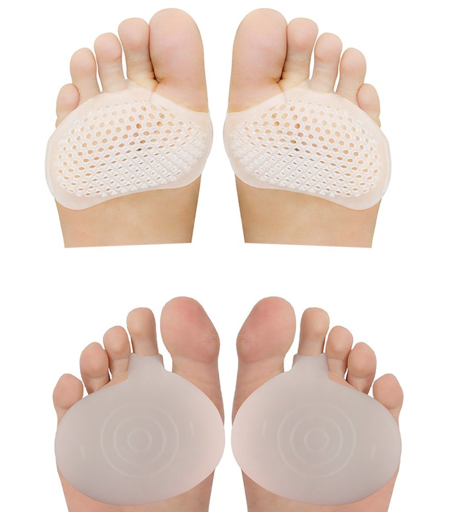 Metatarsal Foot Pads Set, Soft Ball of Foot Cushions Forefoot Pads Insoles for Blister Prevention, Callus Prevention, Foot Support, Foot Pain Relief (4 Pcs) (Type 4)