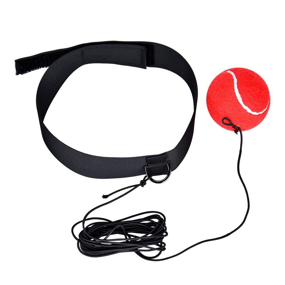 Cozywind Ballon d'entraînement de Boxe Fight élastique Boule avec Bandeau pour la Pratique de la Vitesse Reflex Boxer (rouge)