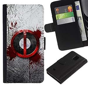 EJOY---Tirón de la caja Cartera de cuero con ranuras para tarjetas / Samsung Galaxy S5 Mini, SM-G800 / --Salpicón de la sangre sesión