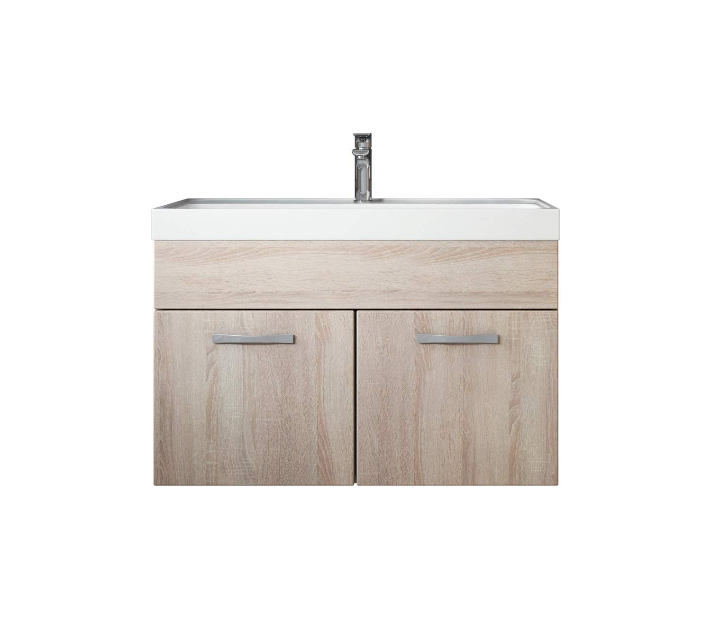 Badezimmer Badmöbel Set Paso 01 80 cm Waschbecken Sonoma Eiche - Unterschrank Schrank Waschbecken Waschtisch