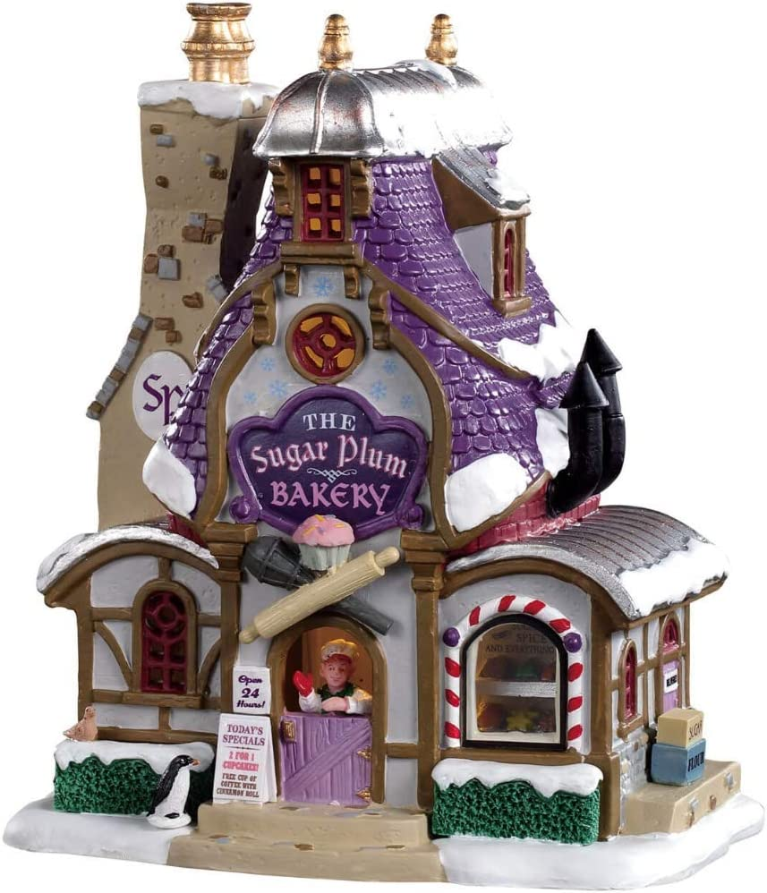 """Lemax 95531 Sugar Plum Bakery, New 2019 Santa's Wonderland Village Collection, Porcelain Colorful Decorated Miniature Lighted Building, X'mas Decor/Gift/Collectible, On/Off Switch, 7.87""""x6.57""""x4.92"""""""