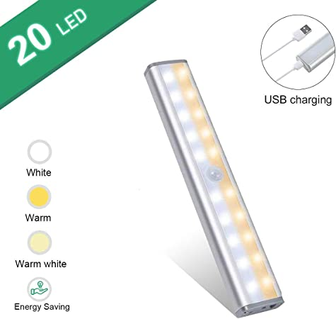 USBGD Slim Under Cabinet Lights 3 Color Mode Battery Operated Lights Bar for Kitchen Stair Hallway Under Counter Lighting Portable 20 LED Motion Sensor Closet Light Rechargeable White-1Pack