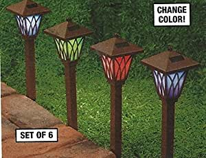 "14"" LED Solar Color Changing Pathway Lamp Lights - Set of 6"