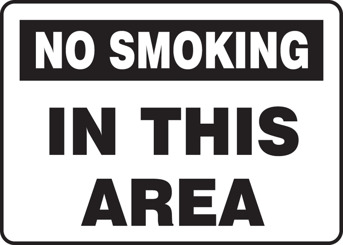 Accuform MSMK955VS Sign LegendNO SMOKING IN THIS AREA Black on White LegendNO SMOKING IN THIS AREA 7 Length x 10 Width x 0.004 Thickness 7 x 10 7 Length x 10 Width x 0.004 Thickness Adhesive Vinyl 7 x 10