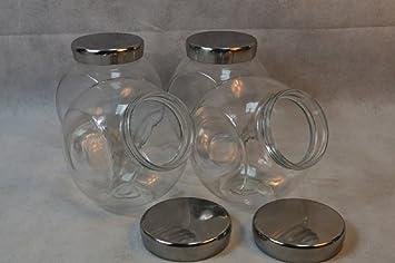 4 X Vorratsglas 2,8 L mit Metalldeckel Süßigkeitenglas Candy Bonbons Kekse Glas