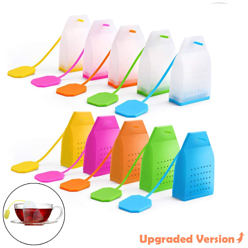10 Pack Reusable Silicone Tea Bags with Long Rope, Creatiees Premium Loose Leaf Tea Infuser Strainer for Tea Cups, Mugs and Teapots - Assorted Colors, Upgraded Holes & Better Filter (Pure Colors)