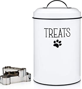 JRW Design White Dog and Cat Treat Container Plus 2 Bone-Shaped Cookie Cutters - Farmhouse Dog Treat Holder Jar - Durable Dog Biscuit Tin Canister, Great Gift for Pet Owners - Stylish Dog Treat Jar