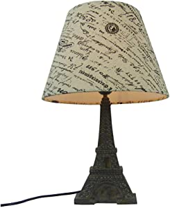Simple Designs LT3010-BSL Eiffel Tower French Script Printed Fabric Shade Table Lamp, Brown/Wheat