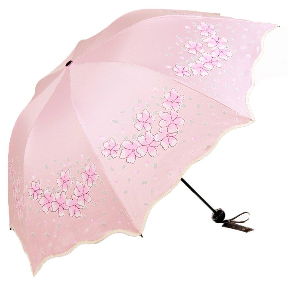Guoke The Black Plastic Sunscreen Uv Protection Umbrellas Girl Three Fold Fine Rain Two Small Fresh And Sunny Umbrellas, Sakura - Pink by Guoke (Image #1)