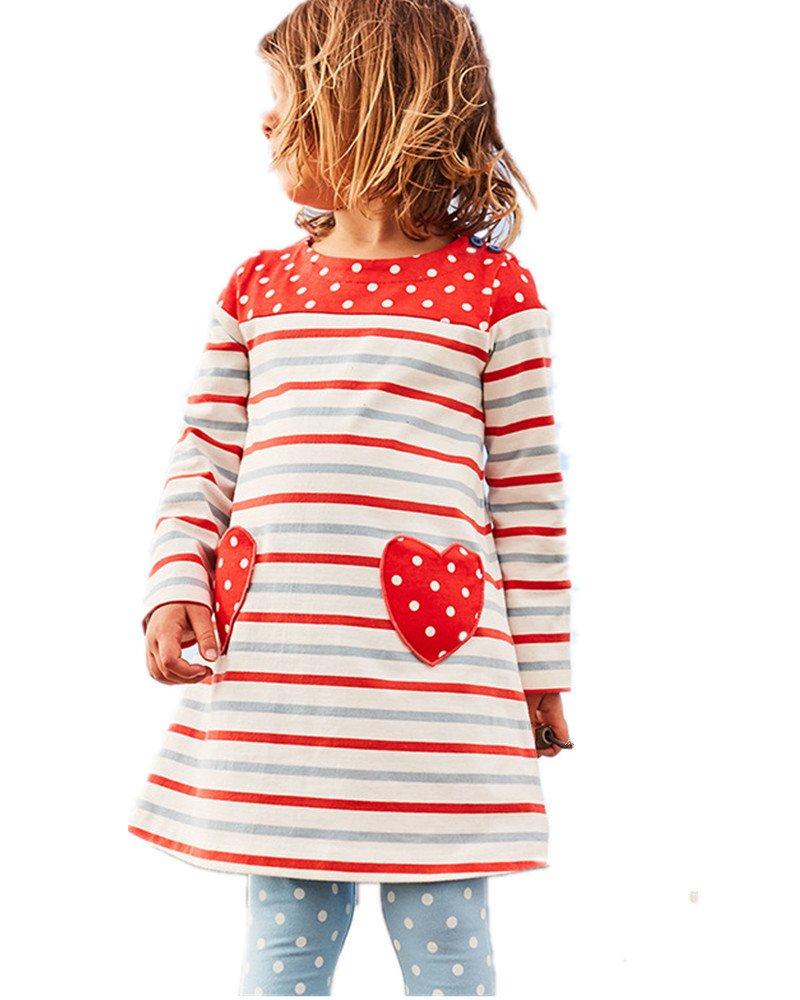 Cute Little Baby Girl Red Love Applique Stripe White Dot Spring Fall Dress Shirt,3T/100cm,9#redlovestripe